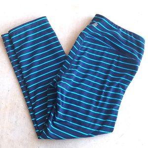 Athleta Striped Leggings Navy and Blue